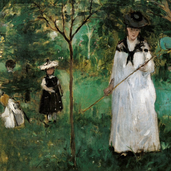 Chasing Butterflies, by Berthe Morisot, 1875, 19th Century, oil on canvas. France, Paris, Musée d'Orsay. Detail. A woman and some children are chasing butterflies in a garden. (Photo by Laurent Lecat/Electa/Mondadori Portfolio via Getty Images)